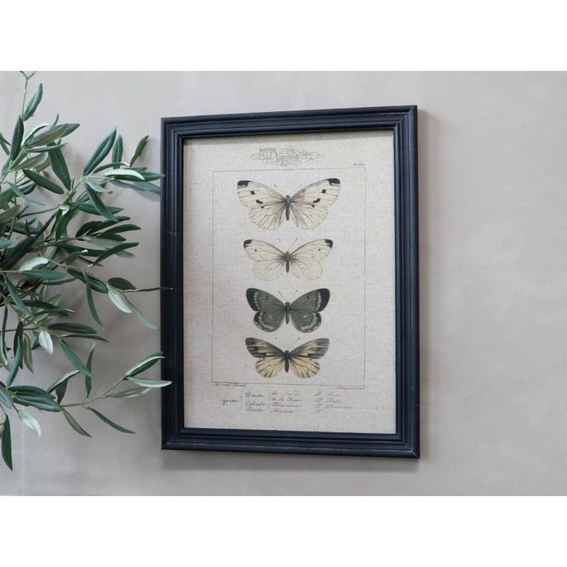 Billede med sommerfuglemotiv og sort ramme