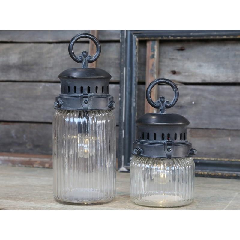 Fransk stald lanterne med riller incl. pære og timer - Lille