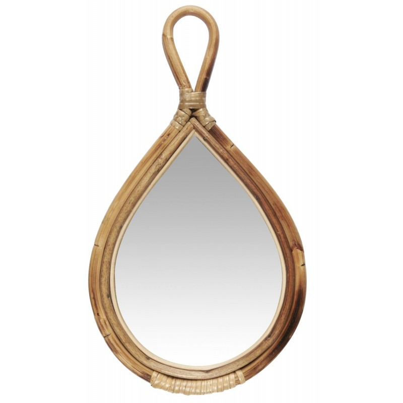 Håndspejl med bambuskant