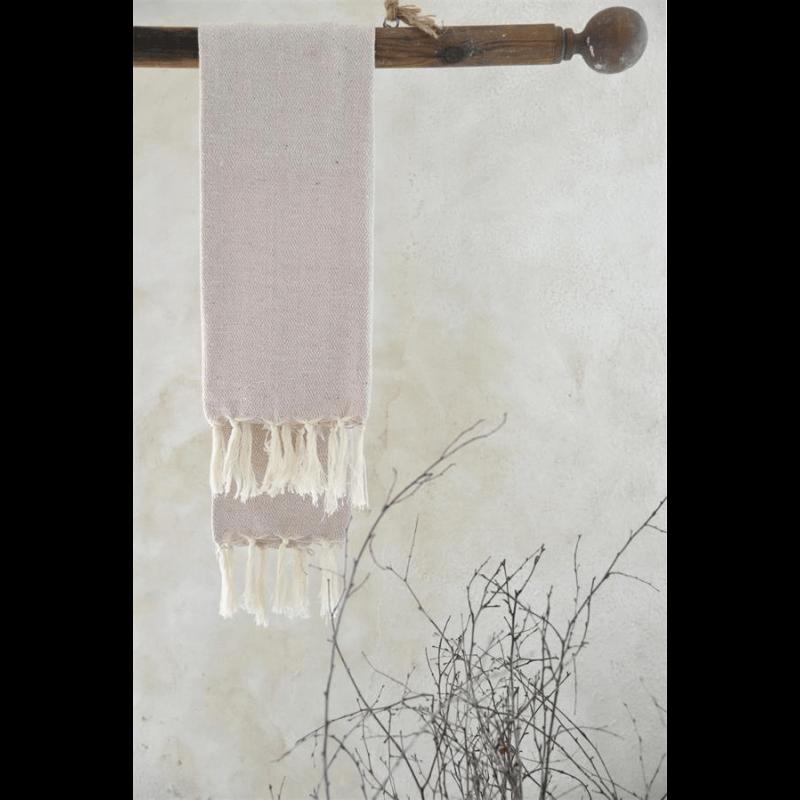 Hammam håndklæde creme og lyserød - 70 x 140 cm