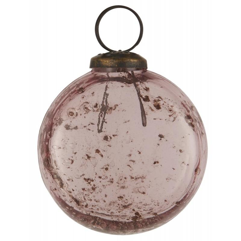 Julekugle i glas - flad model i rosa