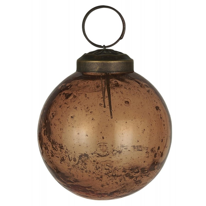 Julekugle i pebblede glas - Amber