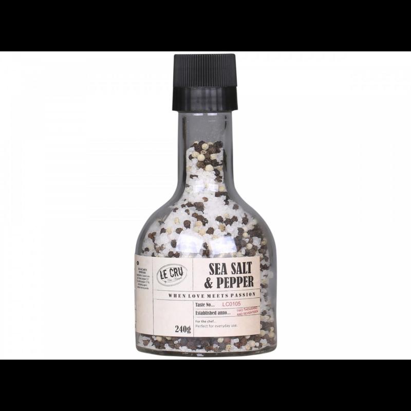 Havsalt og peber i flaske med kværn - Le Cru