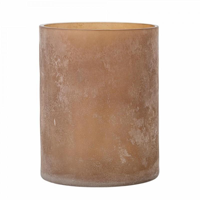 Macha lysestage i brun glas