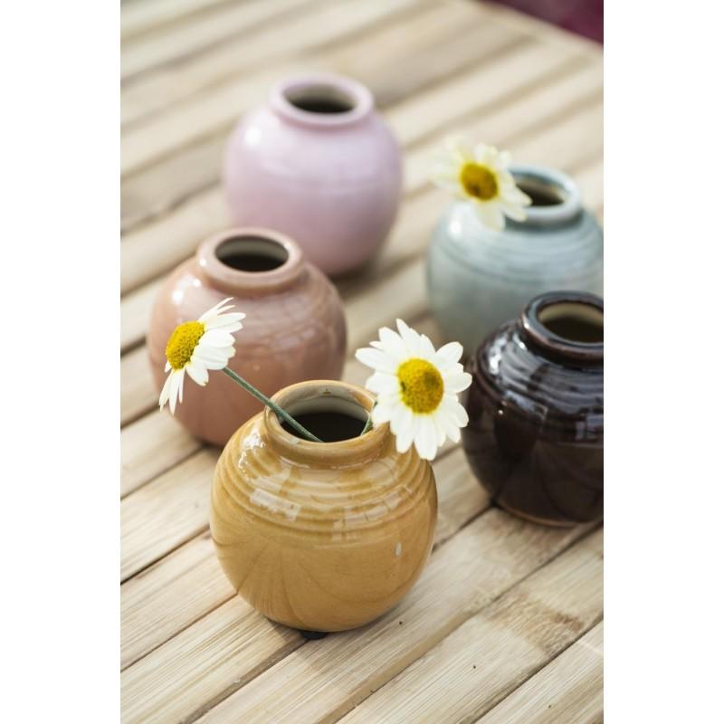 Mini vase med riller - gul/orange