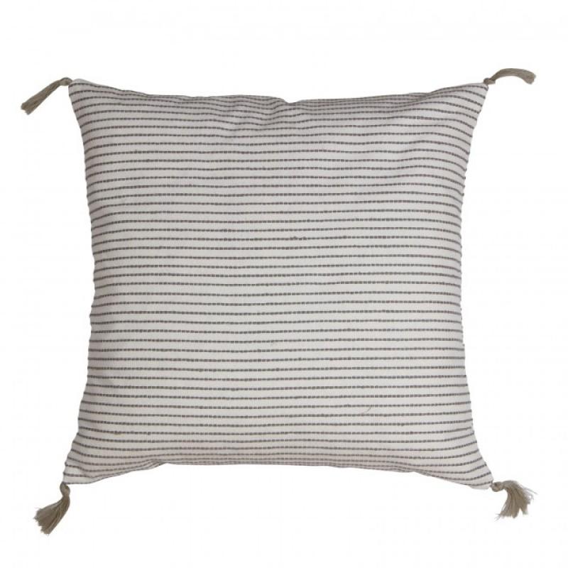 Pudebetræk - Hvid med grå striber