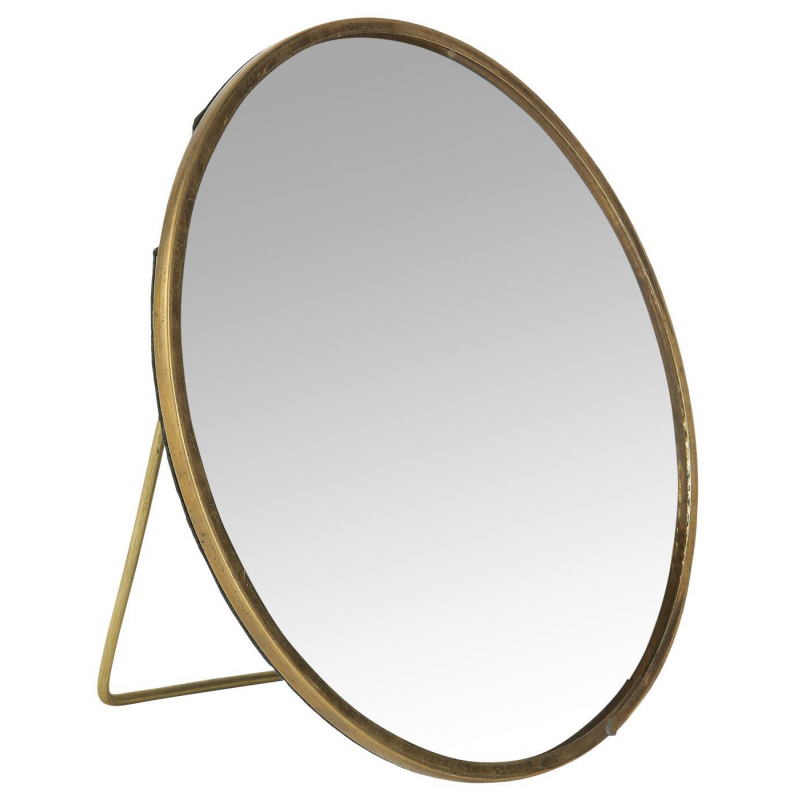 Rund spejl med messing ramme