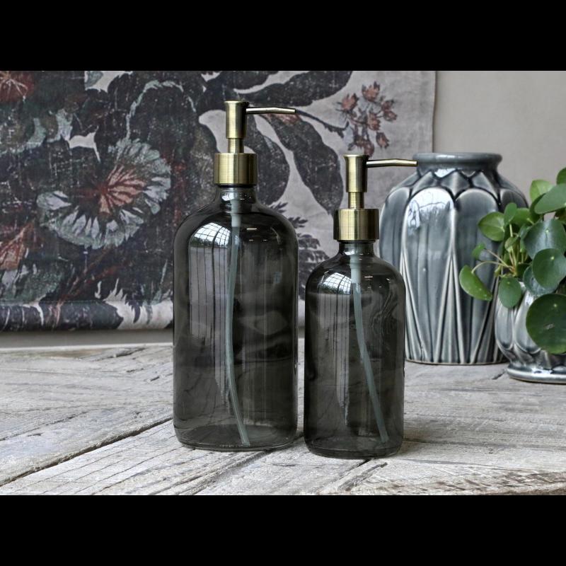 Glas sæbedispenser med pumpe i kul/grå - 480 ml.