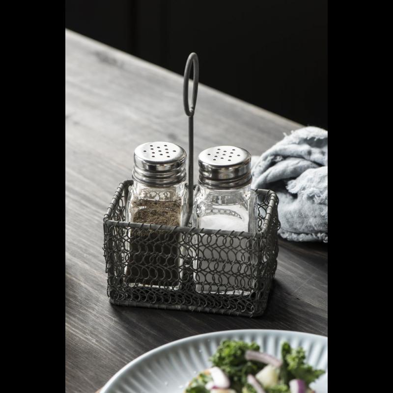 Salt og peber sæt med metal holder