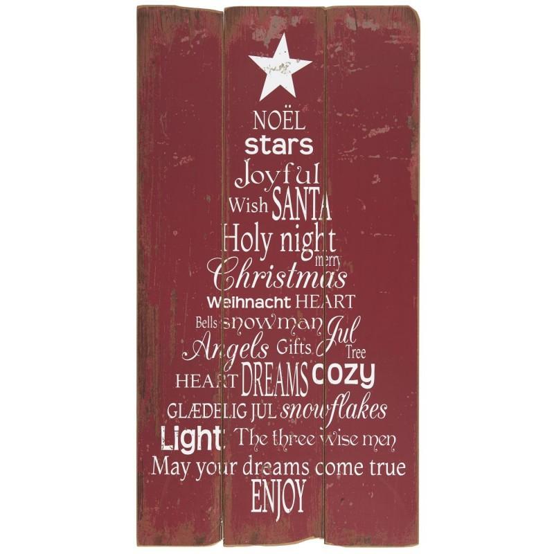 Rødt træskilt med juletekst