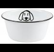 Hundeskål i hvid emalje - Lille