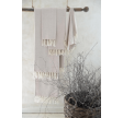Håndklæde i creme og lyserød med frynser - 70 x 140 cm