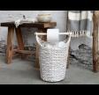 Kurv med toiletpapirholder i hvid