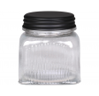 Opbevaringsglas med sort metallåg