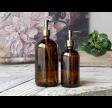 Sæbedispenser i glas med pumpe i mocca/brun - 480 ml.