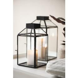 Firkantet lanterne i glas og metal - Stor