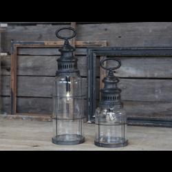 Fransk stald lanterne i antique kul incl. pære