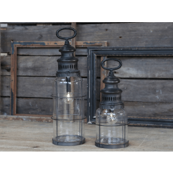 Fransk stald lanterne i antique kul incl. pære og timer