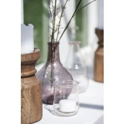Glas fyrfadsstage i klar rosa farve - Unika
