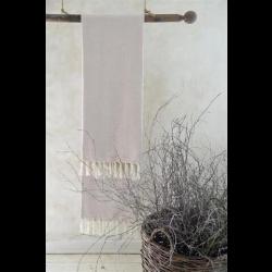 Håndklæde med frynser i creme og lyserød - 50 x 100 cm