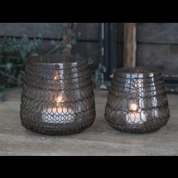 Lysestage med kobbernet og glasindsats - Lille