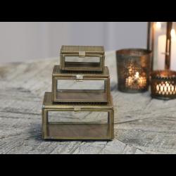 Boks i antique guld messing og glas - stor