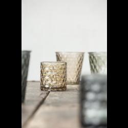 Fyrfadsstage i brunt glas