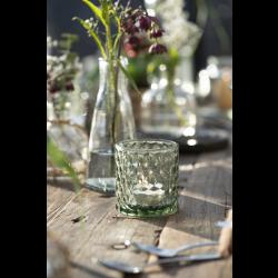 Fyrfadsstage i grønt glas