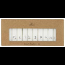 Kalenderlys 1-24 hvid med grå tal