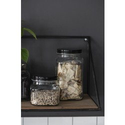 Opbevaringsglas med sort låg 1200 ml
