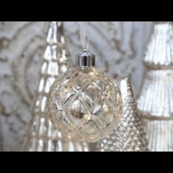 Sølv julekugle med LED lys